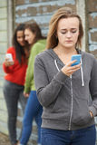 Teenage Girl Being Bullied By Text Message Royalty Free Stock Photos