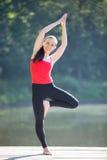 Teenage girl in Bending Tree pose Stock Images