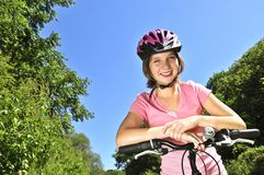 Teenage girl on a bicycle Royalty Free Stock Photos