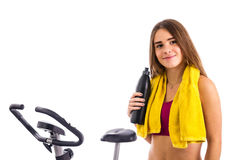 Teenage girl with bicycle Royalty Free Stock Images