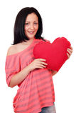 Teenage girl with big red heart Royalty Free Stock Photo