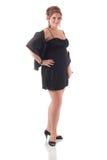 Teenage Girl in Black Formal Dress Royalty Free Stock Photos
