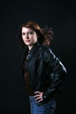 Teenage girl in black leather jacket Stock Photo