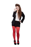 Teenage girl in black and red clothes Royalty Free Stock Image