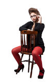 Teenage girl in black and red clothes Royalty Free Stock Photos