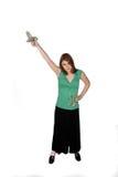 Teenage girl in black skirt holding money Royalty Free Stock Photography