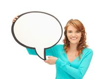 Teenage girl with blank text bubble Royalty Free Stock Photography