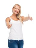 Teenage girl in blank white t-shirt with thumbs up Stock Photos