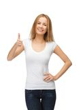 Teenage girl in blank white t-shirt with thumbs up Stock Images