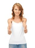 Teenage girl in blank white t-shirt with thumbs up Stock Photography