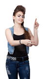 Teenage girl in a blue denim dress Royalty Free Stock Image