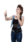 Teenage girl in a blue denim dress Royalty Free Stock Photography