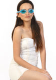 teenage girl with blue gaggles Stock Photo