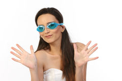 teenage girl with blue gaggles Royalty Free Stock Image