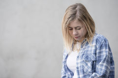 Teenage girl with blue shirt Royalty Free Stock Photography