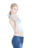 Teenage girl with bottle of water over white Royalty Free Stock Image