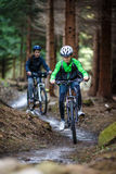 Teenage girl and boy biking on forest trails. Healthy lifestyle - teenage girl and boy biking stock photo