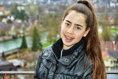 Teenage girl with braces in Europe Royalty Free Stock Image
