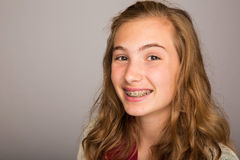 Teenage girl with braces royalty free stock images