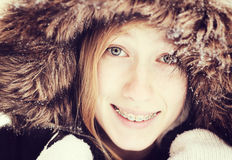 Girl in snow royalty free stock photo