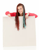 Teenage girl with braids pointing on blank board Stock Photography