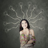 Teenage girl with branchy mind Stock Image