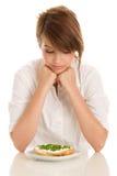 Teenage girl with bread Stock Photo