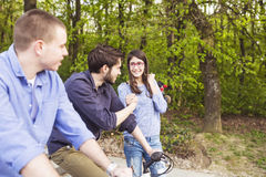 Teenage girl with brothers Royalty Free Stock Photos