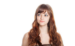 Teenage girl in brown dress. Isolated over white background. Royalty Free Stock Images