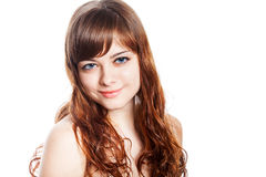 Teenage girl in brown dress. Isolated over white background. Stock Photo