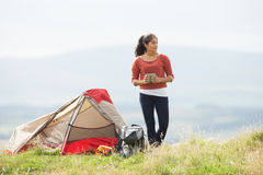 Teenage Girl On Camping Trip In Countryside Stock Images