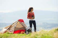 Teenage Girl On Camping Trip In Countryside Royalty Free Stock Photography