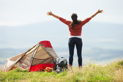 Teenage Girl On Camping Trip In Countryside Royalty Free Stock Photo