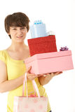 Teenage Girl Carrying Packages And Bags Stock Photos
