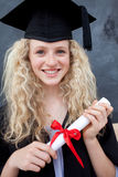 Teenage Girl Celebrating Graduation in the class Stock Photography