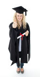 Teenage Girl Celebrating Graduation with thumbs up Stock Images