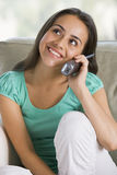 Teenage Girl Chatting On Telephone Stock Photo