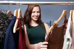 Teenage Girl Choosing Outfit From Wardrobe Royalty Free Stock Photo