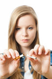 Teenage girl with cigarette Stock Photography