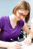 Teenage Girl in Class Stock Photography