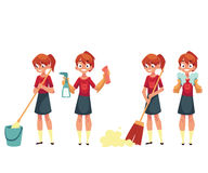 Teenage girl cleaning the house, doing chores, cartoon vector illustration Royalty Free Stock Photos