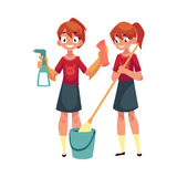 Teenage girl cleaning house, washing floors, holding cloth and sprinkler Stock Image