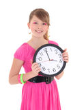 Teenage girl with clock over white Royalty Free Stock Image