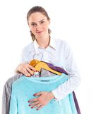 Teenage girl with clothes Royalty Free Stock Photography