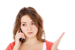 Teenage girl complains during phone call Royalty Free Stock Photography