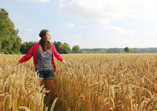 Teenage girl in the cornfield Stock Image