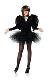 Teenage girl in costume of black angel Stock Images