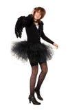Teenage girl in costume of black angel Stock Photos