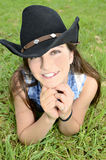 Teenage Girl with Cowboy Hat Stock Photo