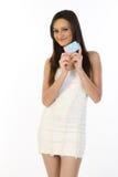 Teenage girl with credit card. Teenage girl   holding blank credit card Stock Photo